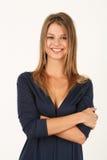 Retrato da jovem mulher de sorriso no vestido azul Imagens de Stock Royalty Free