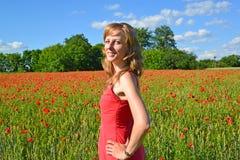 Retrato da jovem mulher em um campo da papoila Fotos de Stock Royalty Free