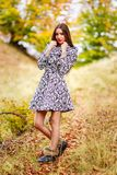 Retrato da jovem mulher na cor do outono Foto de Stock Royalty Free