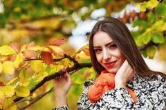 Retrato da jovem mulher na cor do outono Foto de Stock