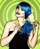 Retrato da jovem mulher no estilo cômico da composição do pop art Menina com laço amarelo nas mãos imagens de stock royalty free