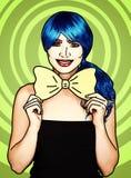 Retrato da jovem mulher no estilo cômico da composição do pop art Menina com laço amarelo nas mãos fotos de stock