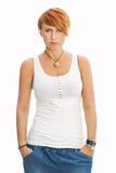 Retrato da jovem mulher no t-shirt branco Fotos de Stock Royalty Free