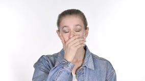 Retrato da jovem mulher ocasional que gesticula a falha e os problemas video estoque