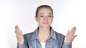 Retrato da jovem mulher ocasional surpreendida feliz, surpresa video estoque