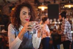 Retrato da jovem mulher que tem uma bebida do cocktail foto de stock