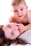 Retrato da matriz e do bebê felizes Imagem de Stock