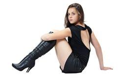 Retrato da menina agradável em carregadores elevados Fotos de Stock
