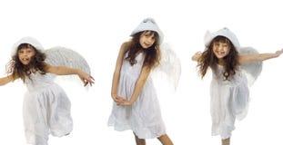 Retrato da menina bonita com asas do anjo Imagem de Stock