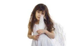 Retrato da menina bonita com asas do anjo Imagens de Stock