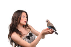 Retrato da menina bonita com pássaro Fotos de Stock Royalty Free
