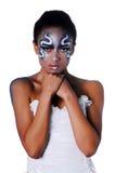 Retrato da menina bonita do mulato com arte de corpo Fotografia de Stock Royalty Free
