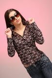Retrato da menina com óculos de sol Imagem de Stock