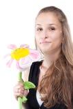 Retrato da menina com flor do luxuoso Fotografia de Stock Royalty Free