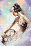 Retrato da menina com flores ilustração do vetor
