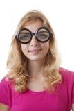 Retrato da menina com glases engraçados Fotografia de Stock Royalty Free