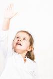 Retrato da menina com mão acima Fotografia de Stock
