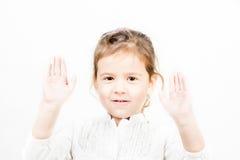 Retrato da menina com mãos acima Fotos de Stock