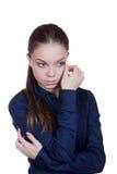 Retrato da menina com olhos grandes Fotos de Stock