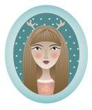 Retrato da menina com vestuário no quadro oval Ilustração Stock