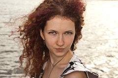 Retrato da menina curly Fotografia de Stock Royalty Free