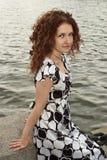 Retrato da menina curly Fotos de Stock
