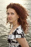 Retrato da menina curly Imagens de Stock Royalty Free