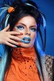 Retrato da menina da forma da beleza composição Pregos Manicured hairstyle Imagens de Stock Royalty Free