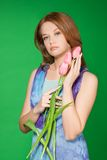 Retrato da menina da mola com tulips Fotos de Stock Royalty Free