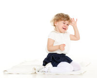 Retrato da menina de grito pequena. Imagens de Stock