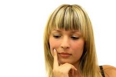 Retrato da menina de pensamento Imagem de Stock Royalty Free