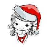 Retrato da menina de Santa, esboço para seu projeto Fotografia de Stock