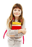 Retrato da menina de sorriso da escola com a mochila que guarda livros foto de stock royalty free