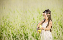 Retrato da menina de sorriso feliz bonita ao prado na natureza no dia ensolarado fotografia de stock