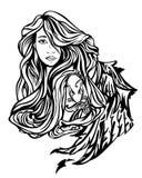 Retrato da menina do anjo ilustração do vetor