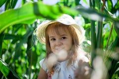 Retrato da menina doce em um prado verde Fotos de Stock