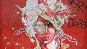 Retrato da menina dos grafittis Imagens de Stock