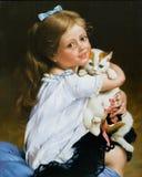 Retrato da menina e de um gato Foto de Stock Royalty Free