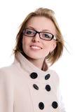 Retrato da menina encantador no revestimento com cabelo de fluxo foto de stock