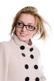 Retrato da menina encantador no revestimento com cabelo de fluxo imagem de stock