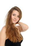Retrato da menina feliz com cabelo longo Foto de Stock Royalty Free