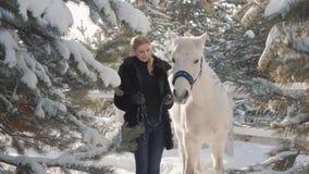 Retrato da menina loura bonita com o cavalo branco do puro-sangue perto do fim da cerca acima Jovem mulher que joga com seu branc filme