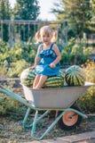 Retrato da menina loura bonita com os dois rabos de cavalo no sundress azuis imagens de stock royalty free