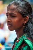 Retrato da menina maurícia no vestido tradicional Fotografia de Stock Royalty Free