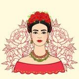 Retrato da menina mexicana bonita na roupa antiga, um fundo - as rosas estilizados ilustração royalty free