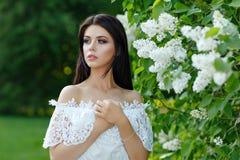 Retrato da menina moreno sensual bonita no vestido branco no th imagem de stock