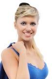 Retrato da menina na obscuridade - azul Fotografia de Stock Royalty Free