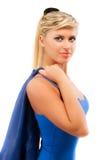 Retrato da menina na obscuridade - roupa azul Fotografia de Stock Royalty Free