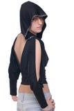 Retrato da menina na parte superior e nas calças de brim do clube fotografia de stock royalty free