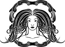 Retrato da menina no estilo de Art Nouveau Imagem de Stock Royalty Free